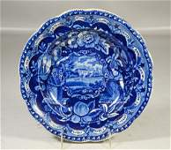 Clews Historical Staffordshire Blue Transfer soup bowl,