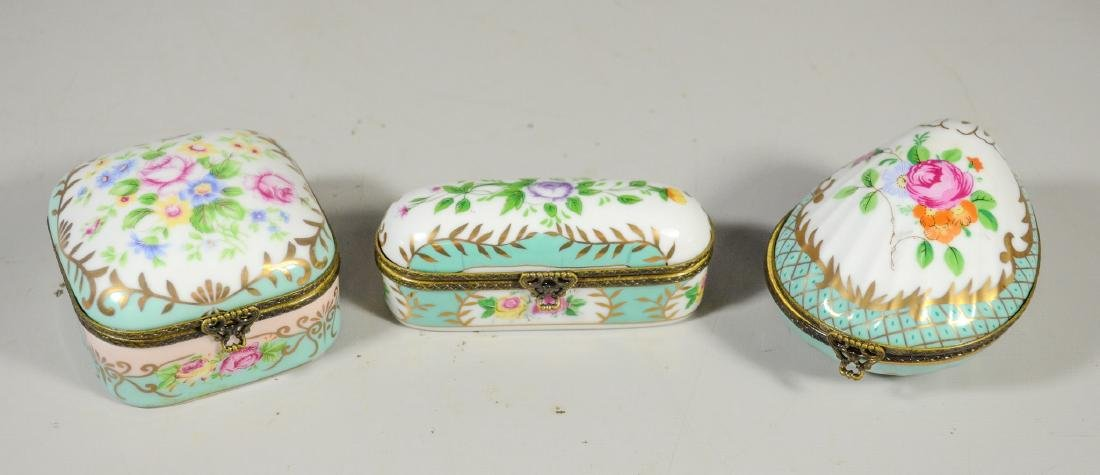 3 Continental floral decorated decorative porcelain