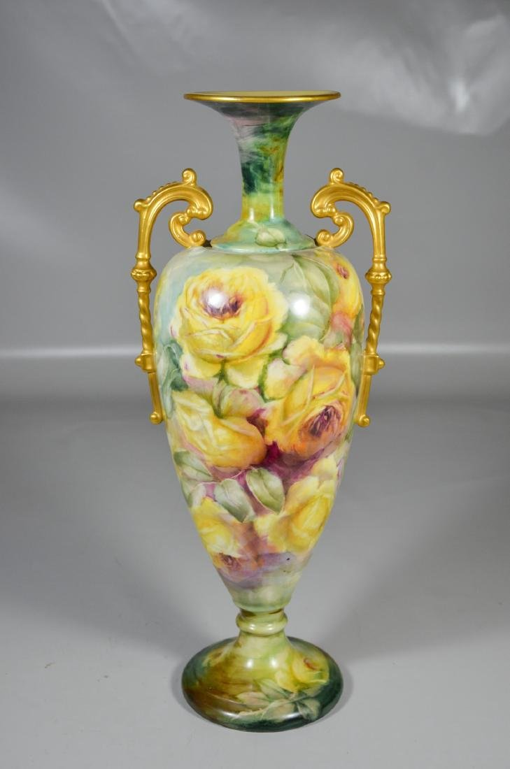 Lenox Belleek floral decorated porcelain double handled