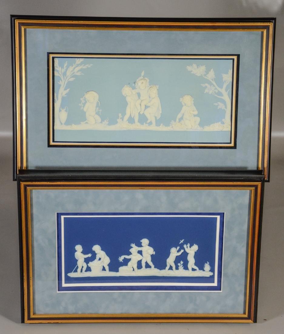 (2) Wedgwood framed plaques, one light blue & white