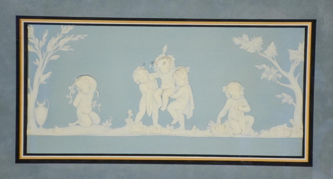 (2) Wedgwood framed plaques, one light blue & white - 2