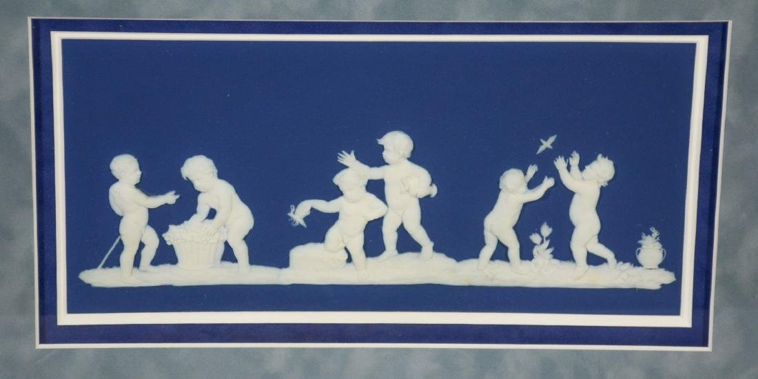 (2) Wedgwood framed plaques, one light blue & white - 3