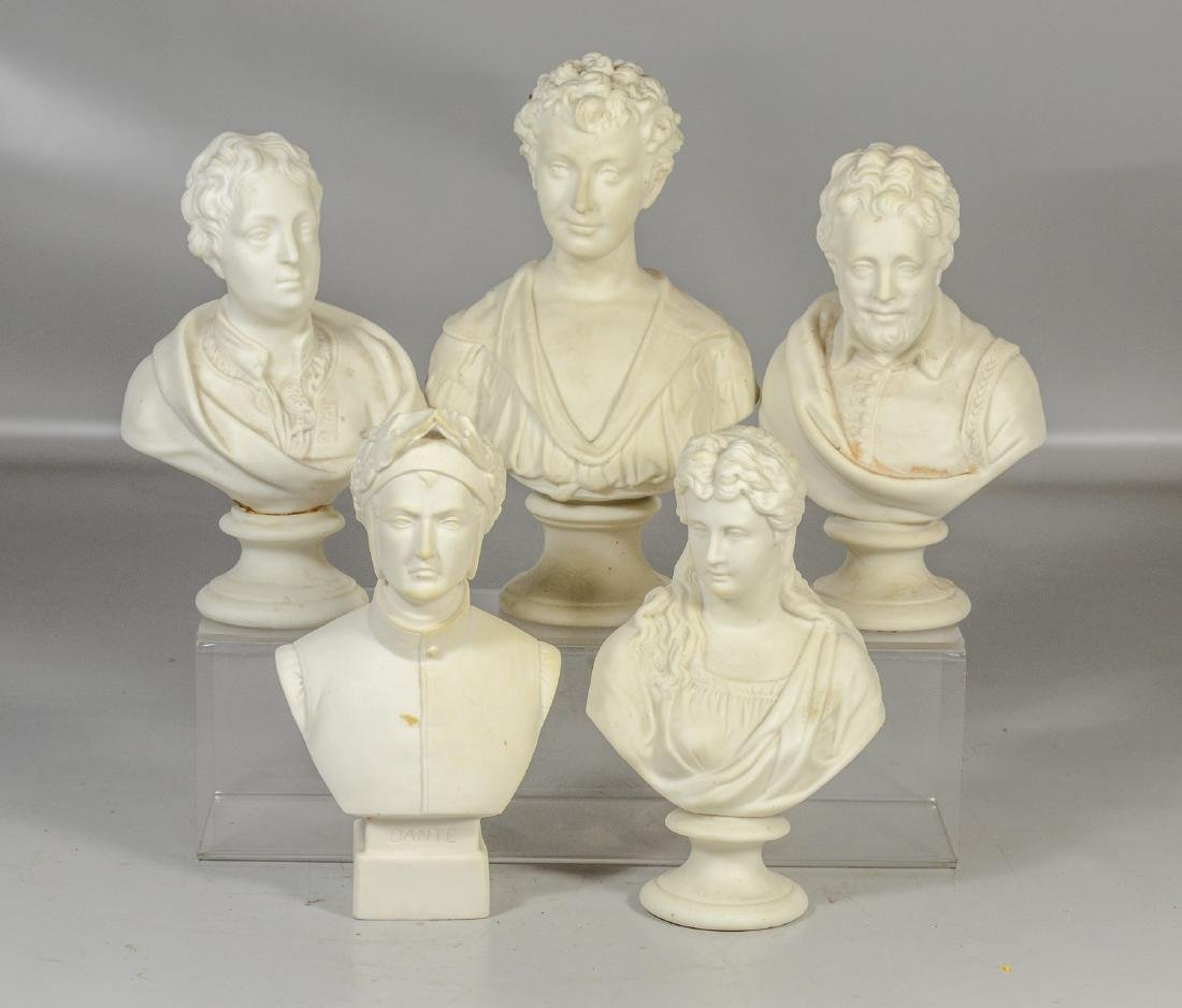 "Five (5) English Parian busts, to include ""Beatrice"" by"