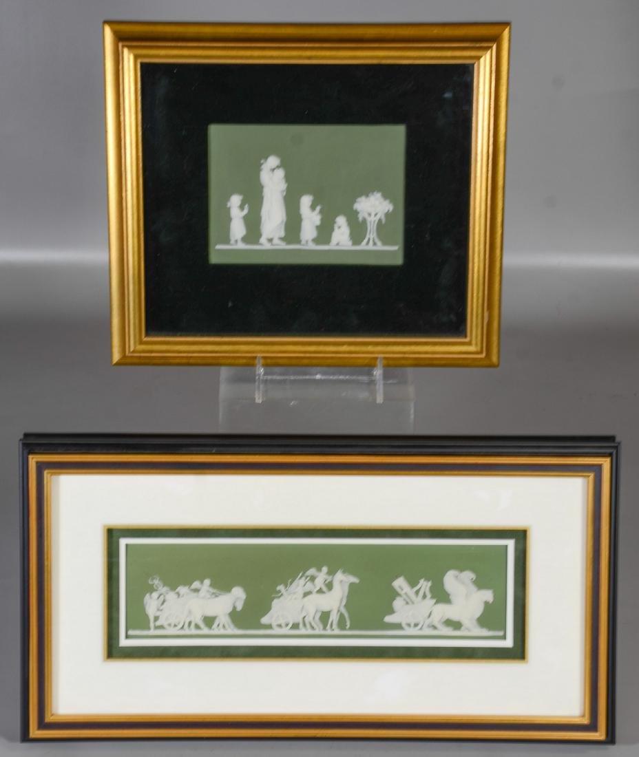 (2) Wedgwood green & white Jasper framed plaques,