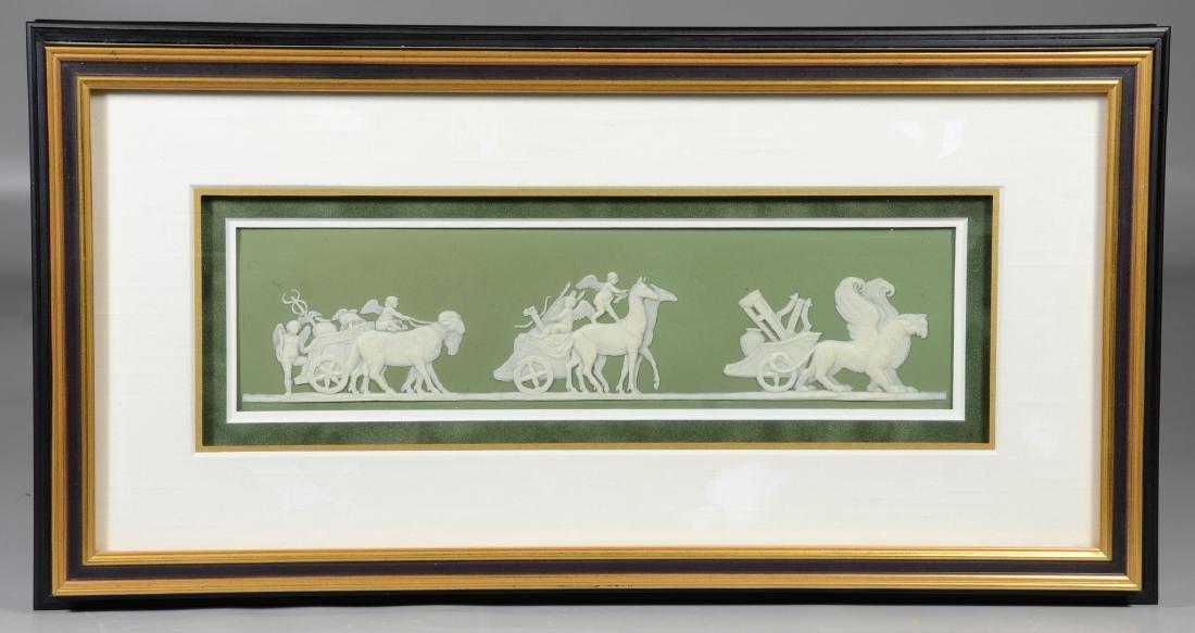 (2) Wedgwood green & white Jasper framed plaques, - 2