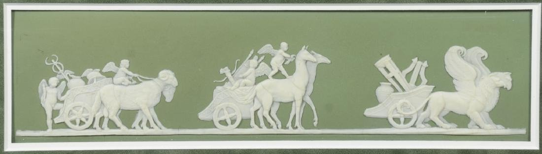 (2) Wedgwood green & white Jasper framed plaques, - 3