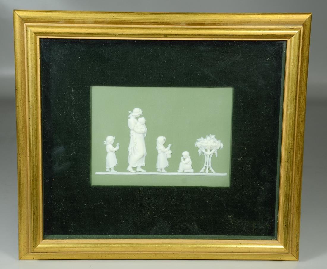 (2) Wedgwood green & white Jasper framed plaques, - 6