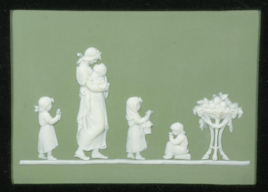 (2) Wedgwood green & white Jasper framed plaques, - 7