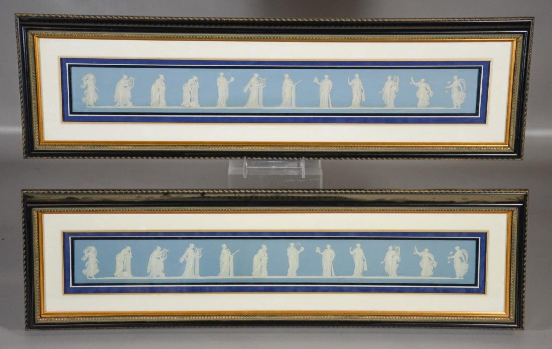 Pair of Wedgwood framed light blue & white Jasper