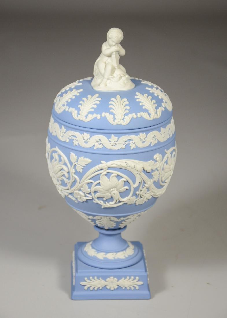 Wedgwood light blue & white Jasper footed covered urn