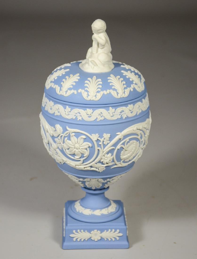 Wedgwood light blue & white Jasper footed covered urn - 2