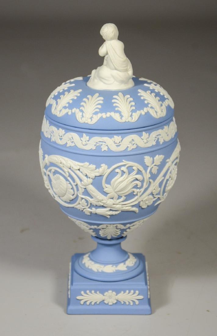 Wedgwood light blue & white Jasper footed covered urn - 3