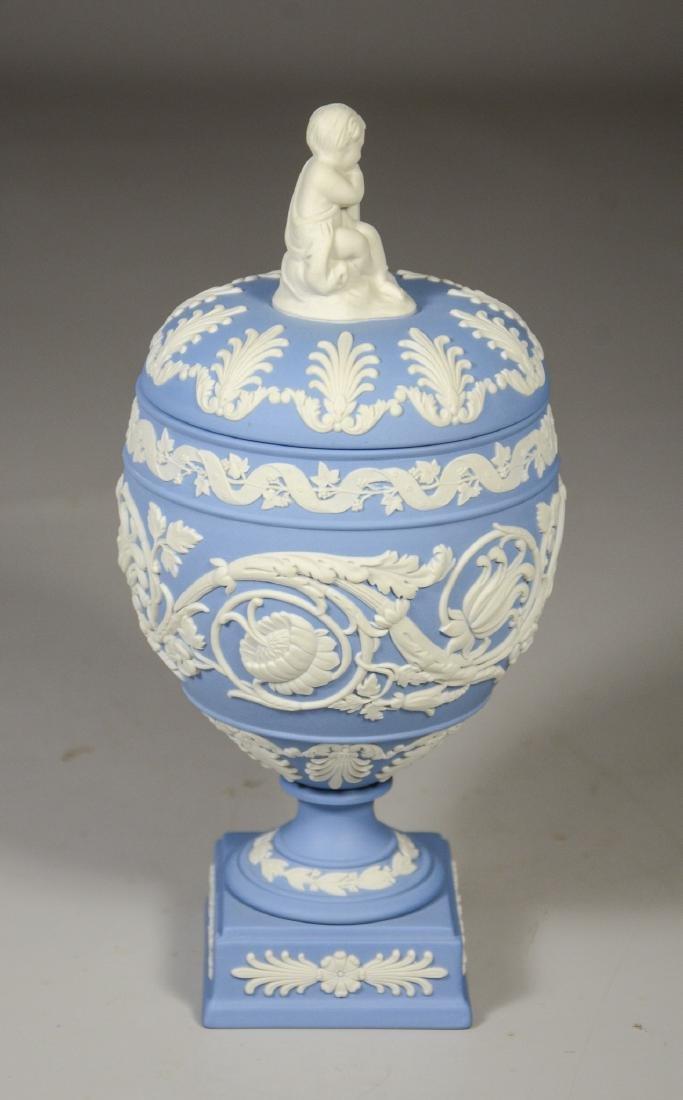 Wedgwood light blue & white Jasper footed covered urn - 4