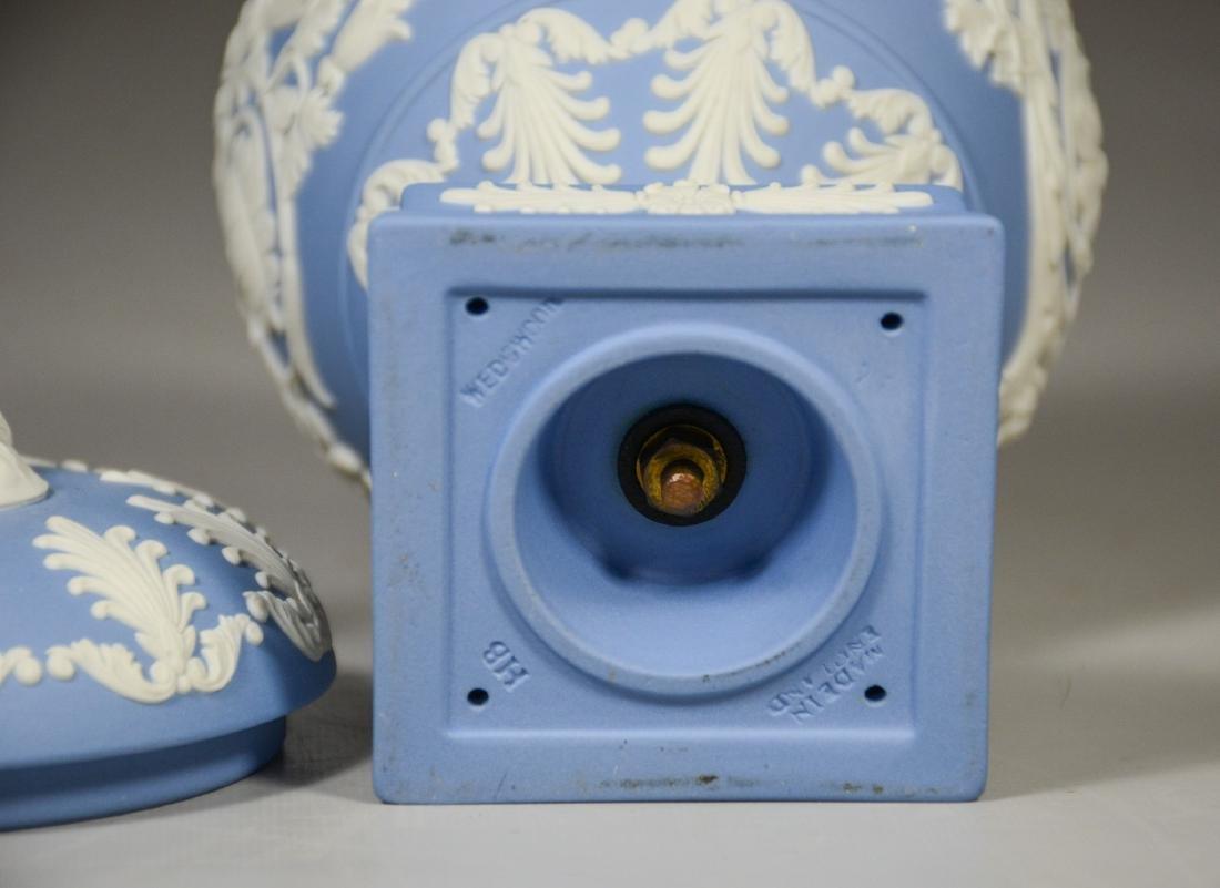 Wedgwood light blue & white Jasper footed covered urn - 5