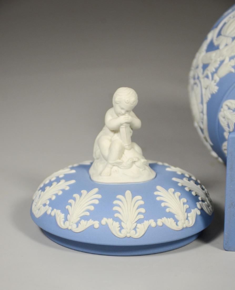 Wedgwood light blue & white Jasper footed covered urn - 6