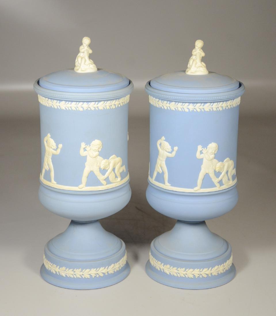 Pair of Wedgwood light blue & white Jasper footed