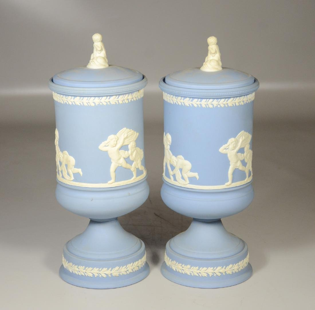 Pair of Wedgwood light blue & white Jasper footed - 2