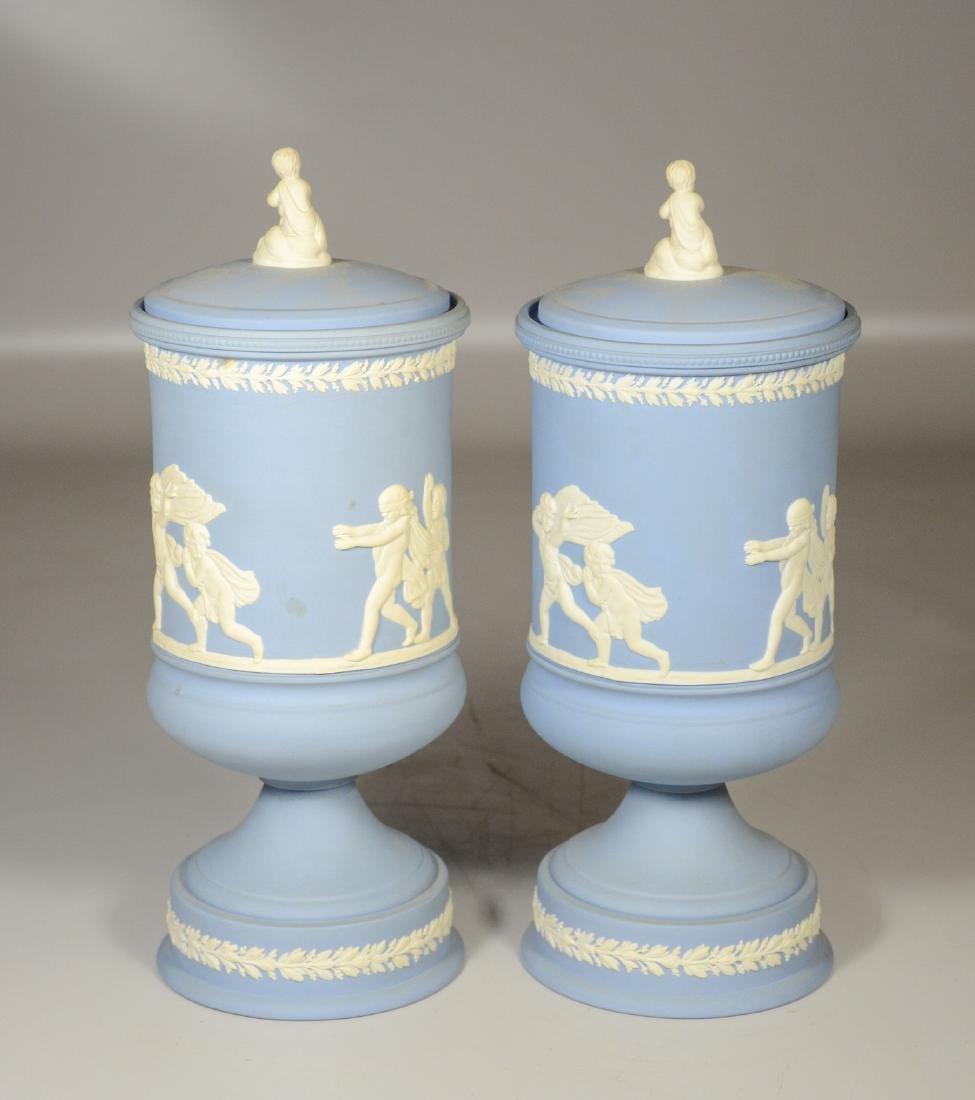 Pair of Wedgwood light blue & white Jasper footed - 3
