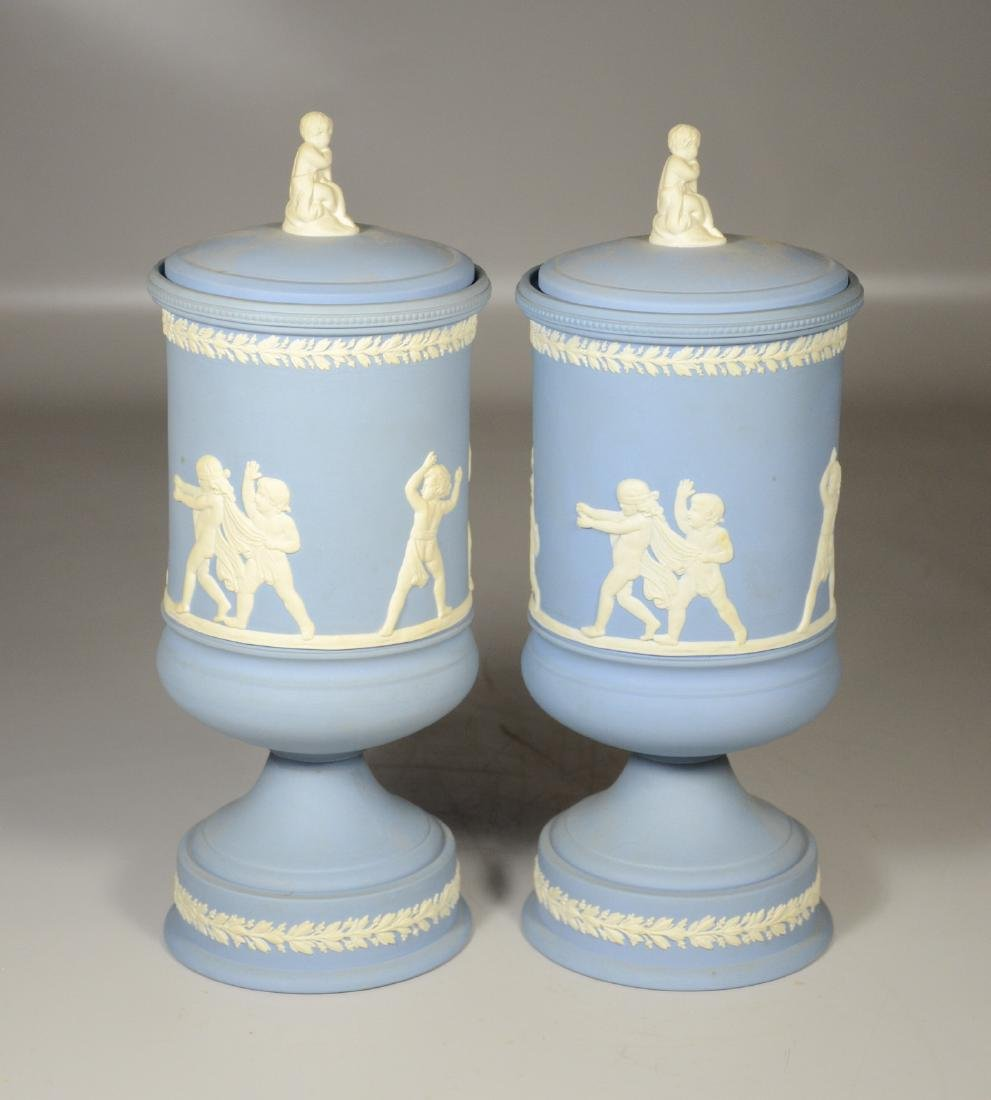 Pair of Wedgwood light blue & white Jasper footed - 4