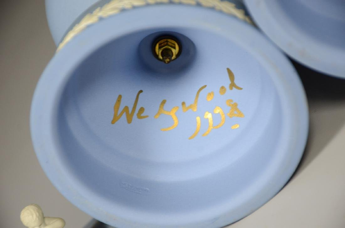 Pair of Wedgwood light blue & white Jasper footed - 6