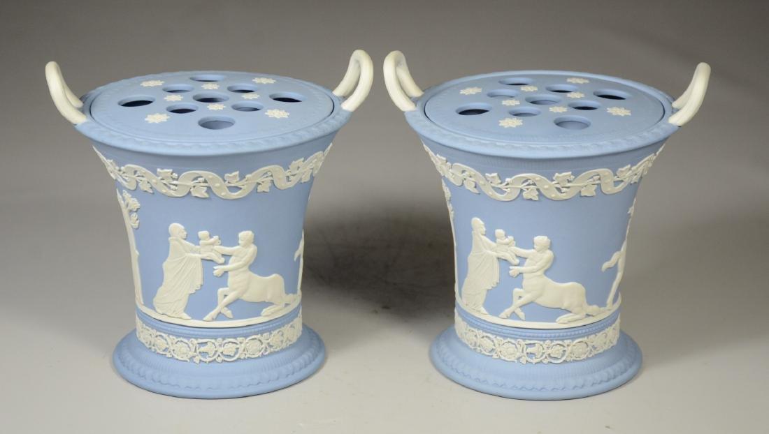 Pair of Wedgwood light blue & white Jasper double