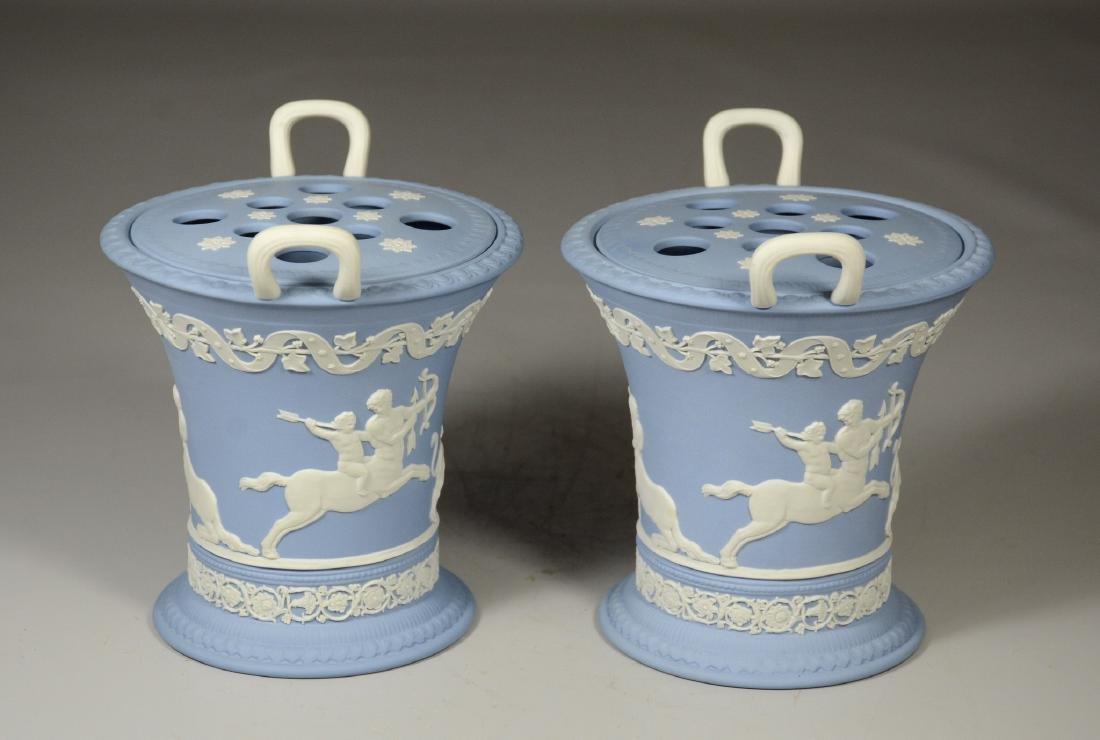 Pair of Wedgwood light blue & white Jasper double - 2
