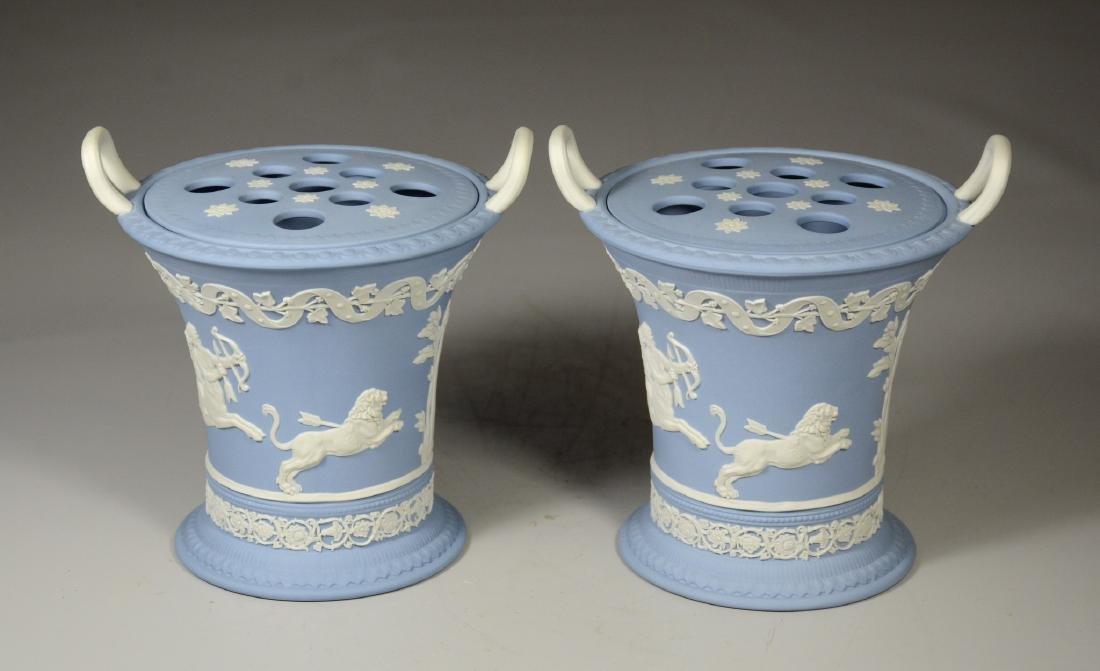 Pair of Wedgwood light blue & white Jasper double - 3