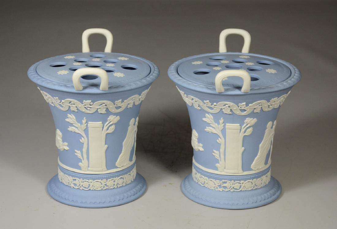 Pair of Wedgwood light blue & white Jasper double - 4