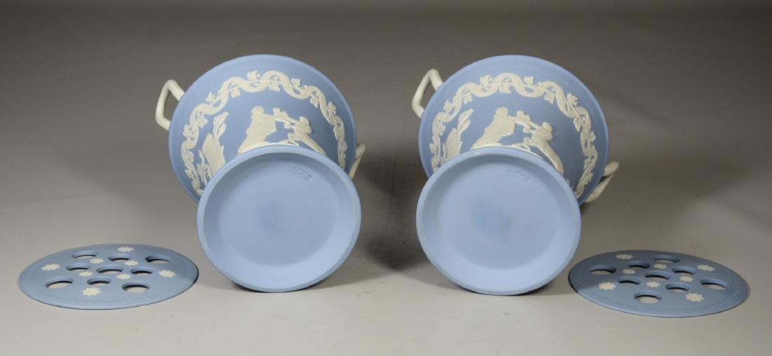 Pair of Wedgwood light blue & white Jasper double - 5