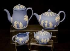 4-Piece Wedgwood light blue & white Jasper tea set,