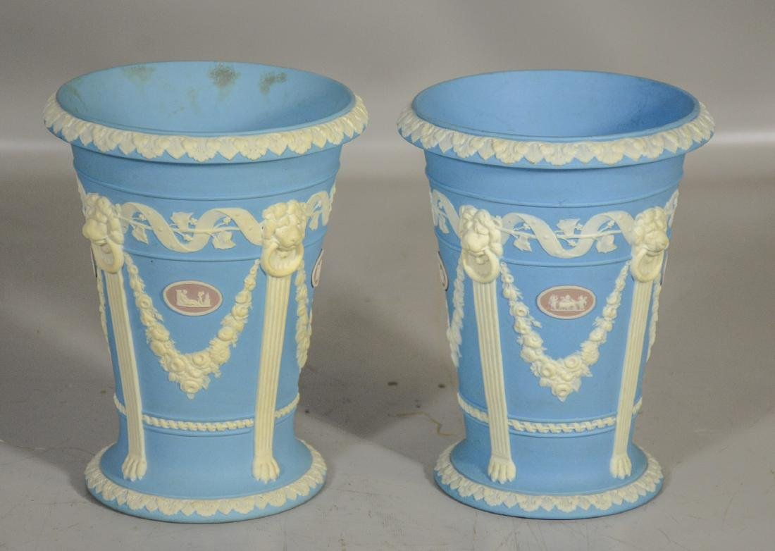 Pair of Wedgwood 19th C tri-color monopod vases, blue,