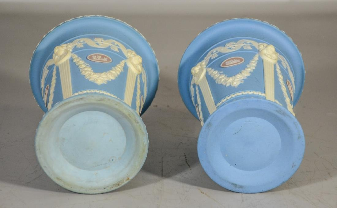 Pair of Wedgwood 19th C tri-color monopod vases, blue, - 2