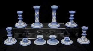 10 Wedgwood light blue & white Jasper candlesticks,