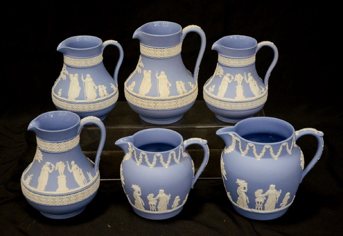 6 Wedgwood light blue & white Jasper pitchers