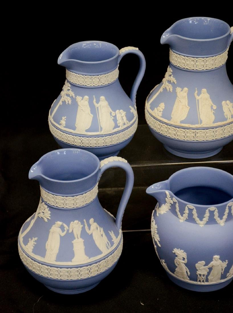 6 Wedgwood light blue & white Jasper pitchers - 2