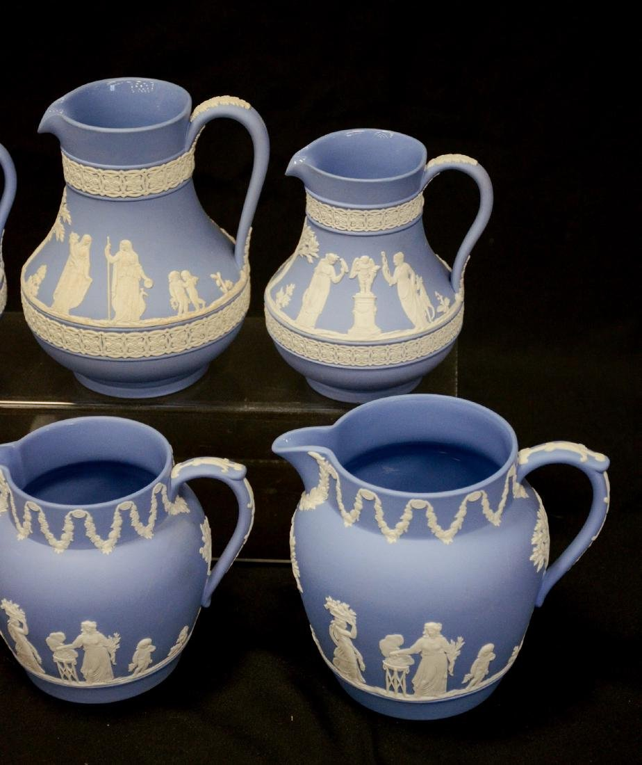 6 Wedgwood light blue & white Jasper pitchers - 3