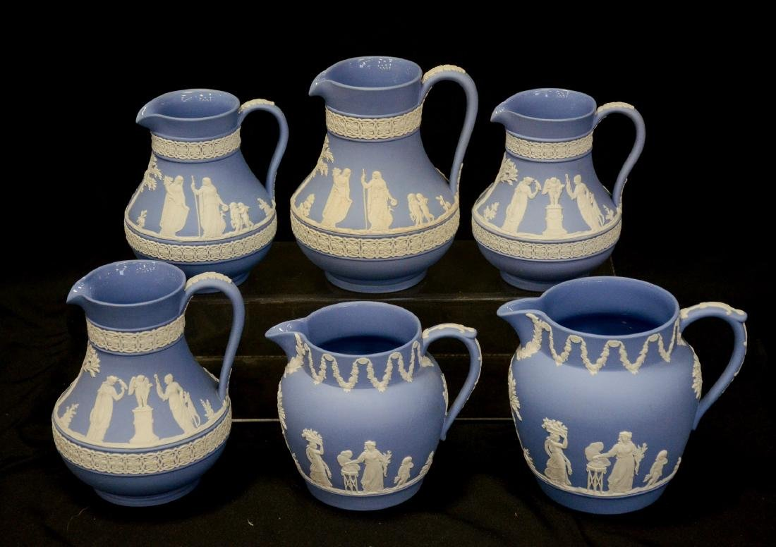 6 Wedgwood light blue & white Jasper pitchers - 4
