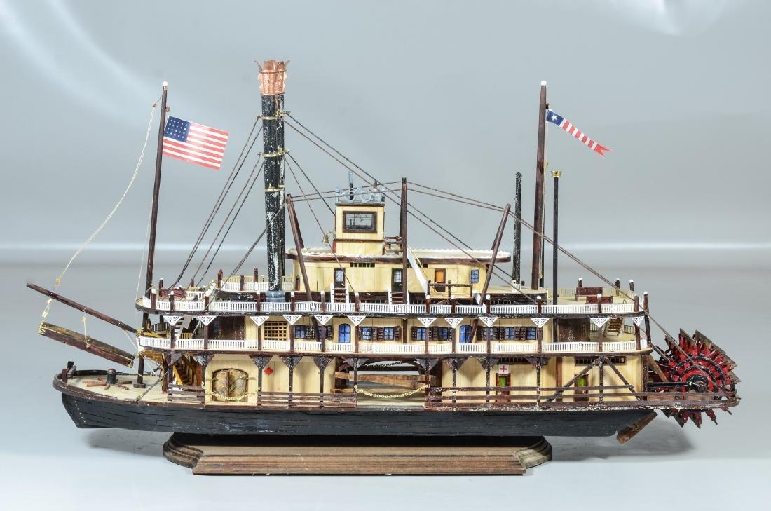 "Handmade wood paddlewheel boat model, 25"" l x 13 1/2"" h"