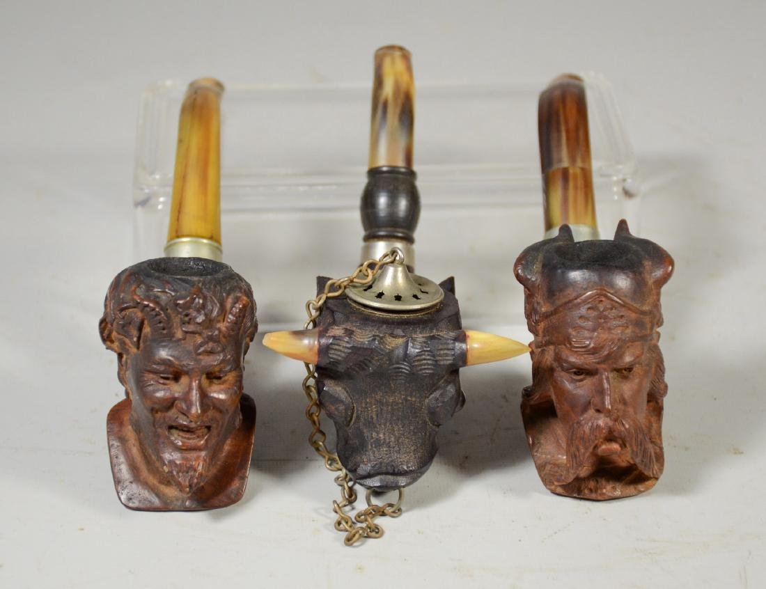 Three (3) carved Meerschaum type pipes, one of a Viking - 2