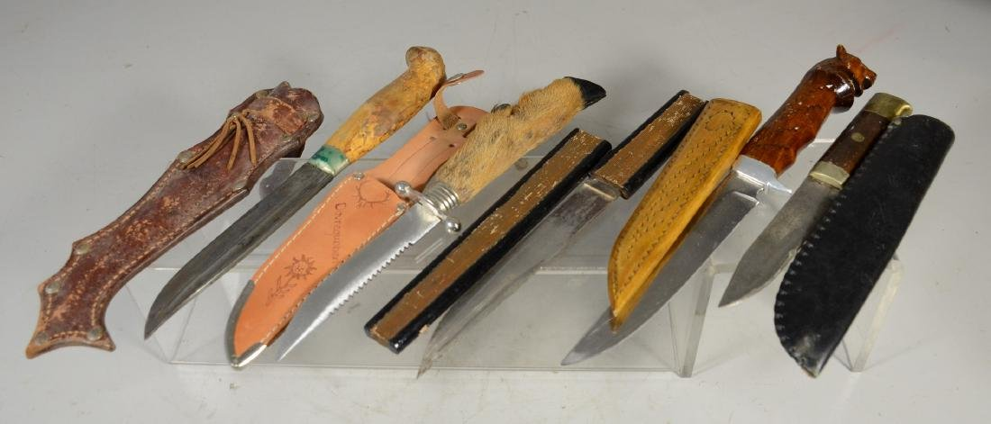 5 sheathed knives including 4 hunting knives, Japanese