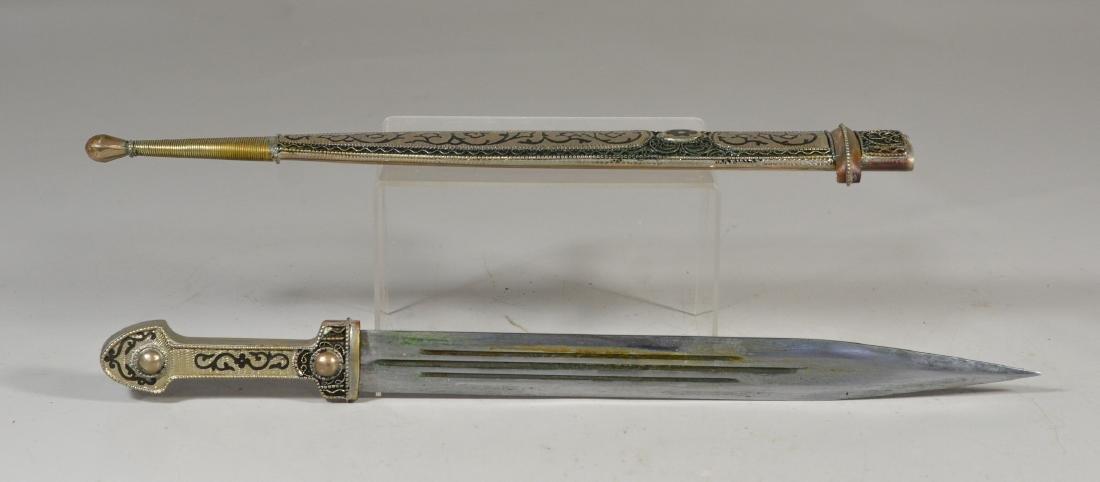 Georgian Cossack Kindjal, silver handle and sheath with