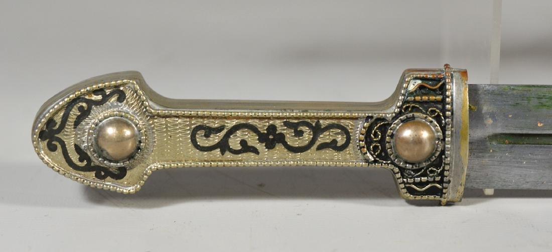 Georgian Cossack Kindjal, silver handle and sheath with - 2