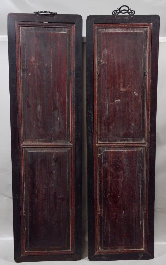 Pair of Chinese teak wood framed porcelain plaques, - 10