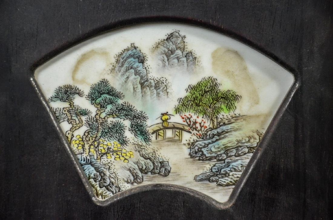 Pair of Chinese teak wood framed porcelain plaques, - 2
