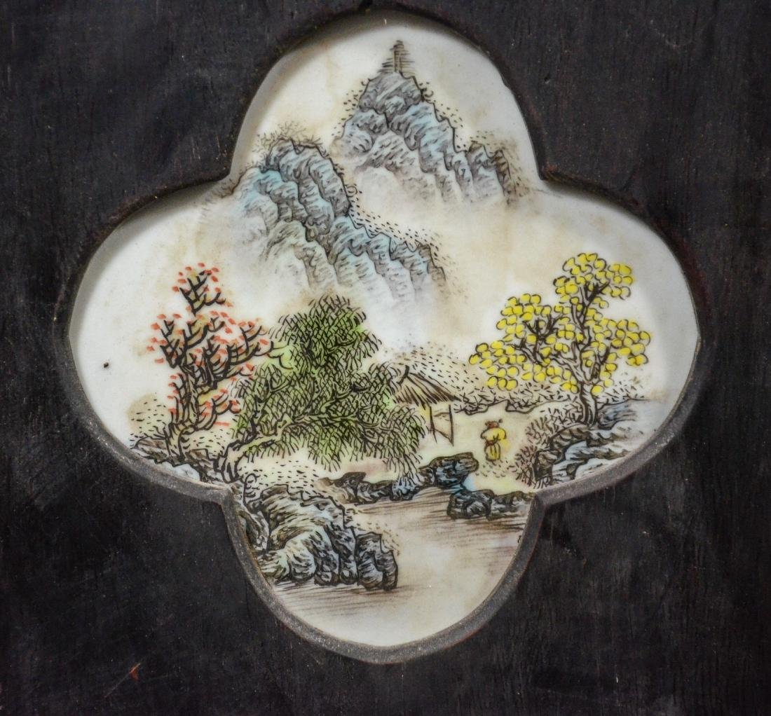 Pair of Chinese teak wood framed porcelain plaques, - 3