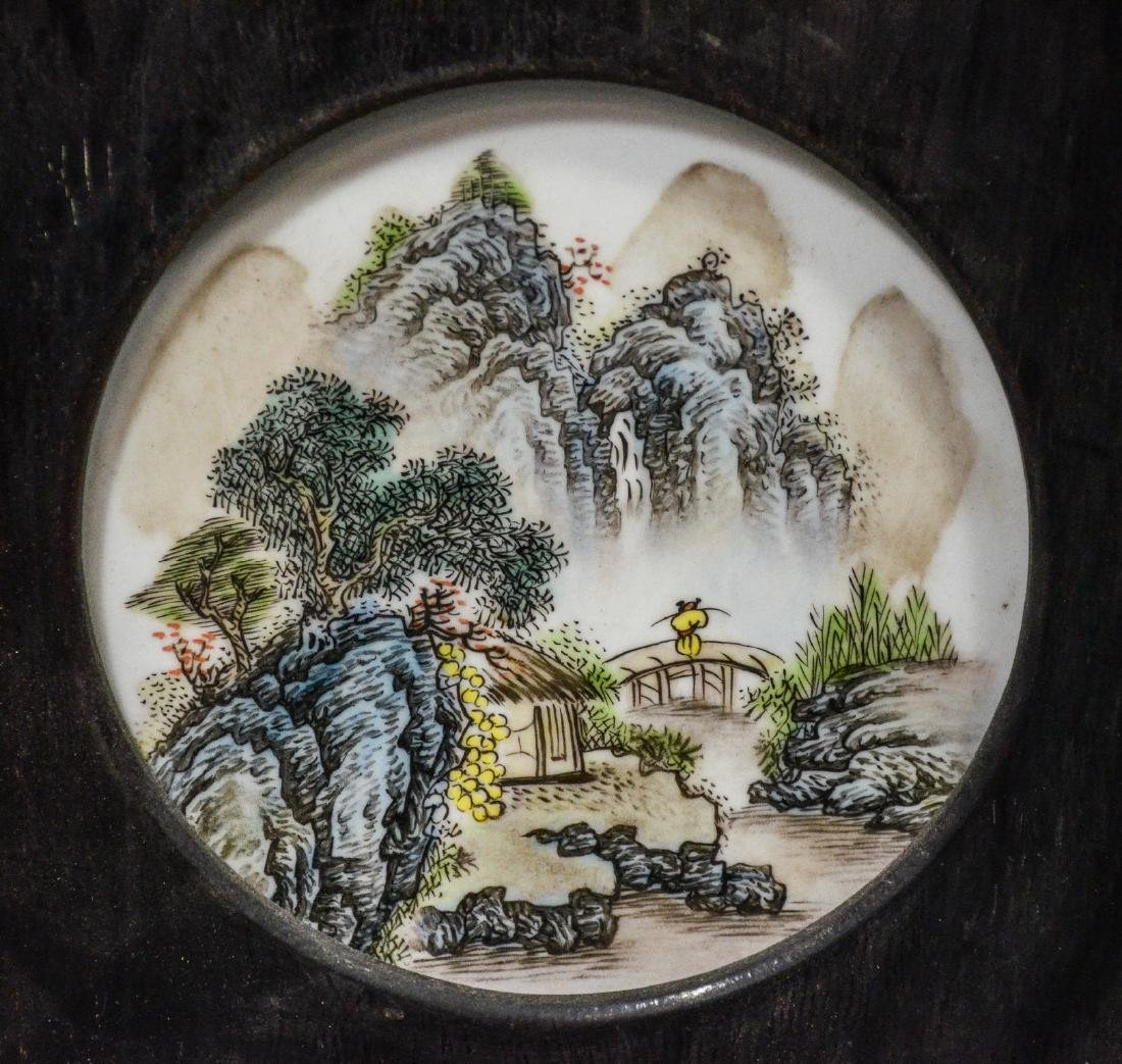 Pair of Chinese teak wood framed porcelain plaques, - 5