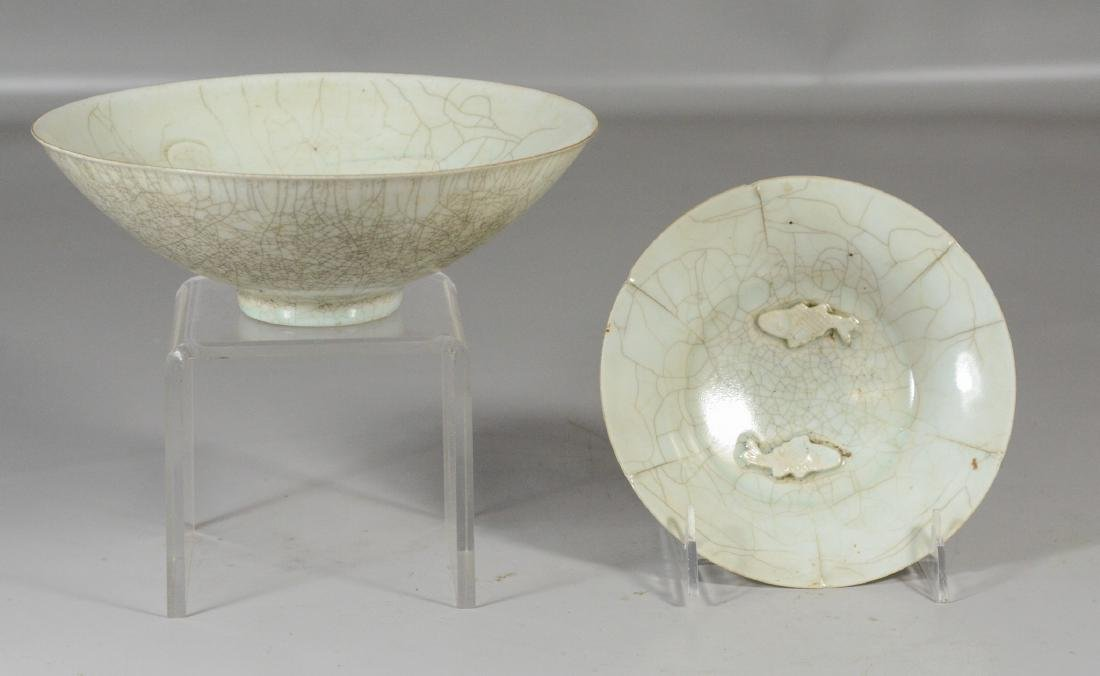 Two (2) Chinese Song style thinly potted bowls, one - 2