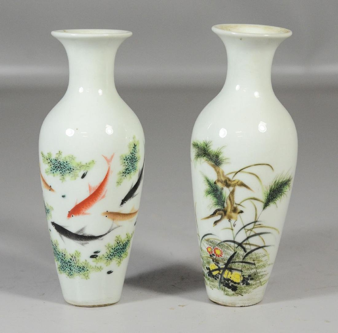 Two (2) pair of Chinese Republic period vases, one with