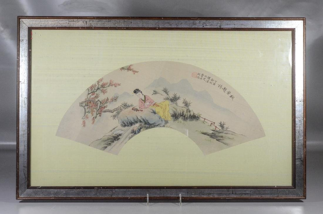 Chinese painted fan shaped watercolor of a maiden with - 2