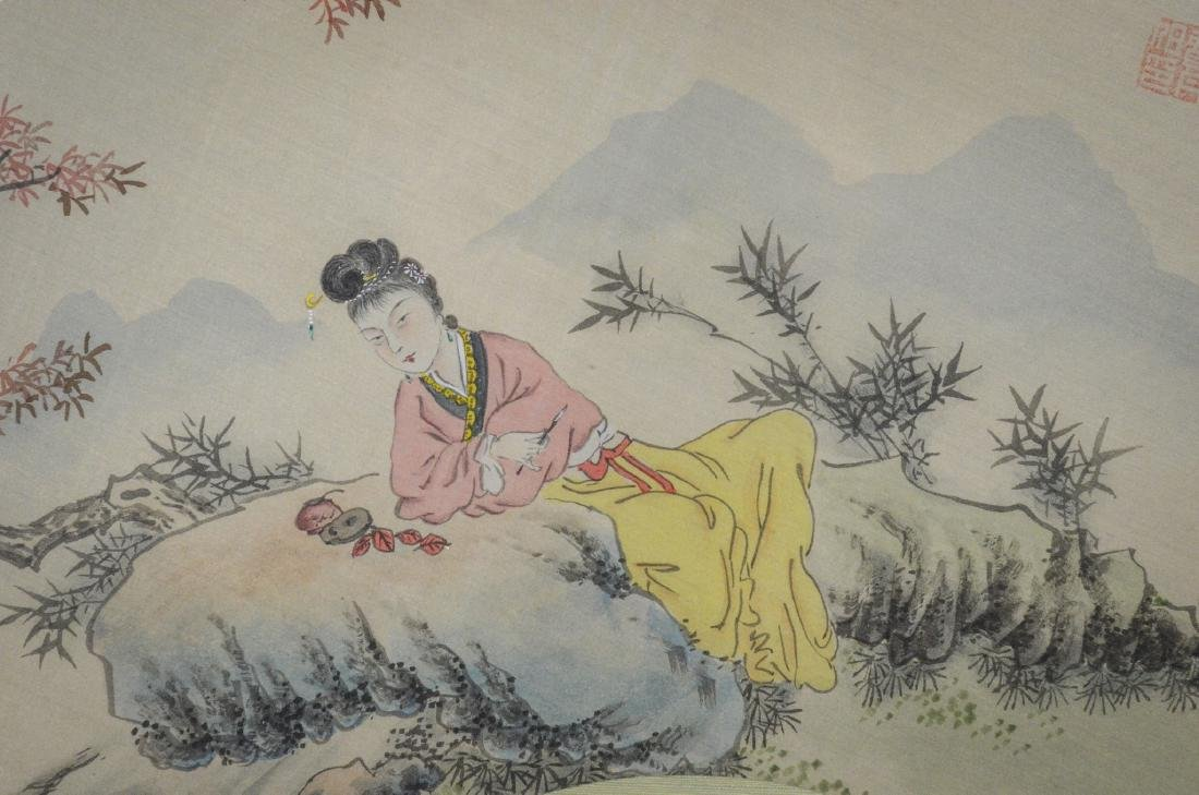 Chinese painted fan shaped watercolor of a maiden with - 4